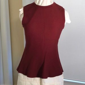 Burgundy peplum sweater tank